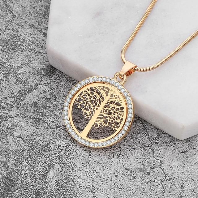 05eaa4d9b7c Arbre de vie Chokers colliers pour femmes or argent couleur serpent chaîne  CZ cristal collier mode