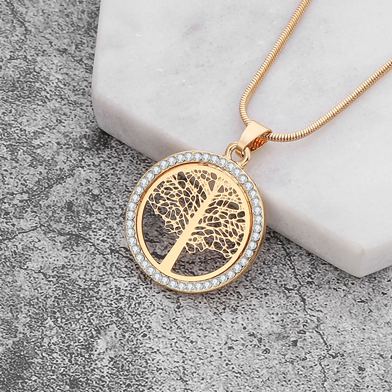 Tree Of Life Chokers Necklaces For Women Gold Argjend Ngjyra Snake Zinxhir CZ Crystal Necklace Crystal Necklace Fashion Fashion colgantes mujer moda