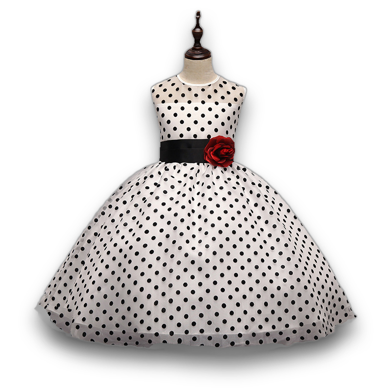 2017 Girls dresses Princess flower dress for girl Classic White Black dots wedding dress cute Ropa de ninas vestidos princesa high grade princess wedding dress europe and america flower girl dress for girls white for 0 12 yesrs