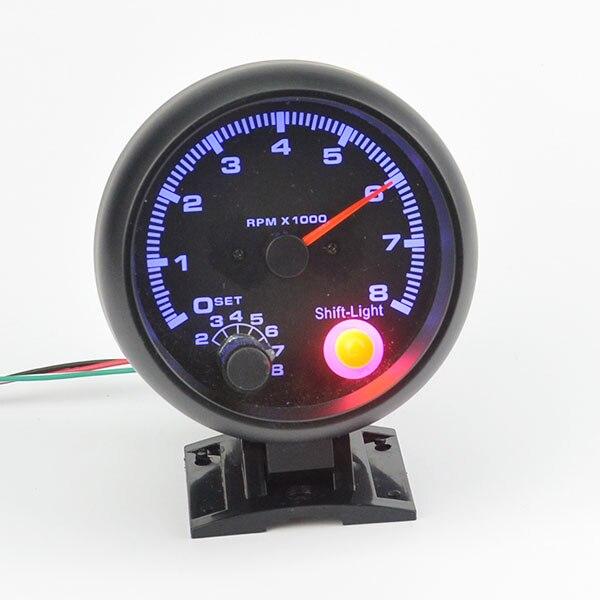 3 75 inch Black shell blue light LED Tachometer gauge RPM car auto gauge 8000rpm free