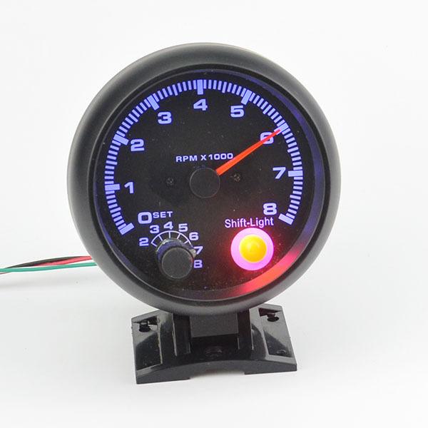 3.75 polegada Preto shell luz LED azul Tacômetro indicador RPM car auto calibre 8000 rpm frete grátis
