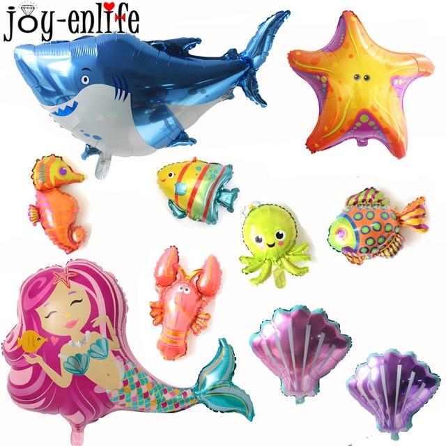 Marine Under The Sea Animals Foil Balloons Shark Fish Seahorse Helium Air Globos Kids Birthday Party