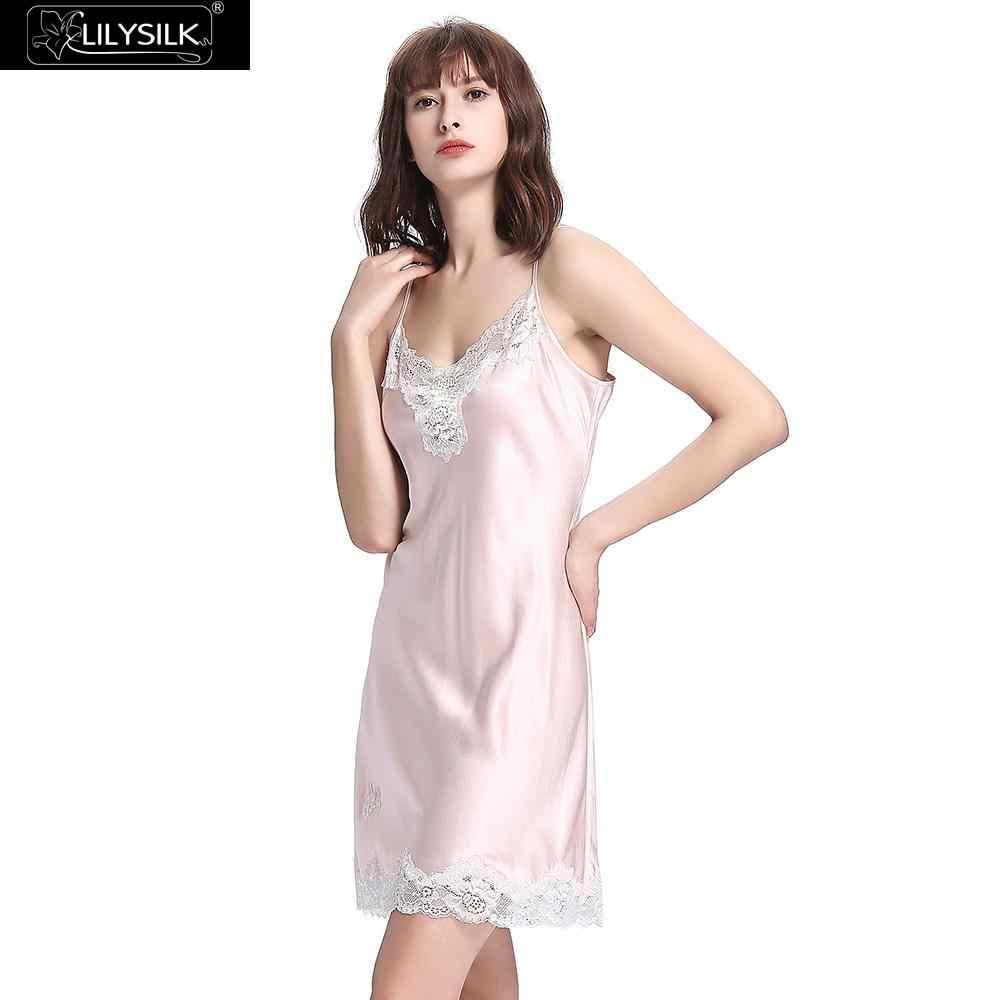 3f9b894bcf4 LilySilk Nightgown Girls Women Nightdress Sleepwear Sleeping Dress Pure 100  Silk 22 momme Lace Luxury for