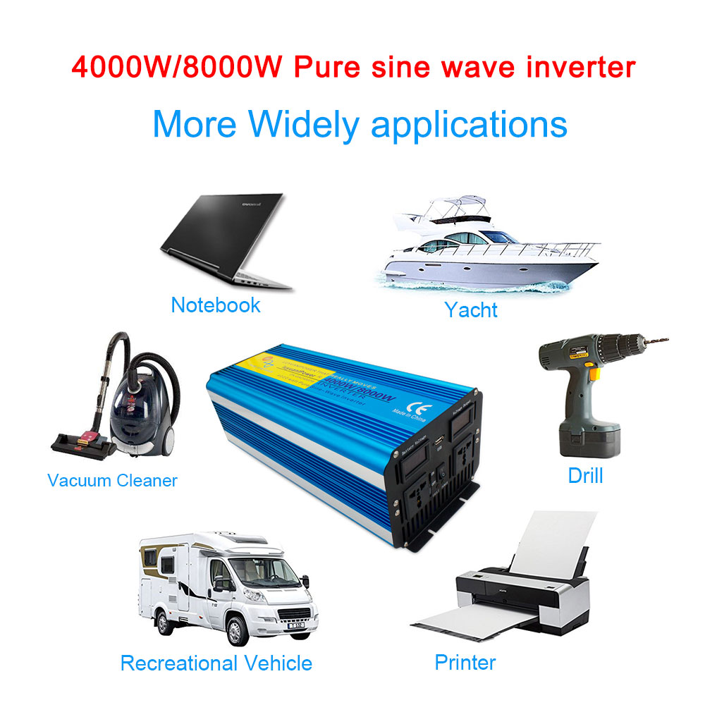 <font><b>8000W</b></font> <font><b>pure</b></font> <font><b>sine</b></font> <font><b>wave</b></font> <font><b>power</b></font> <font><b>inverter</b></font> DC <font><b>12V</b></font>/24V-AC <font><b>220V</b></font> with Dual LED Display 3.1A USB for air conditioner/refrigerator image