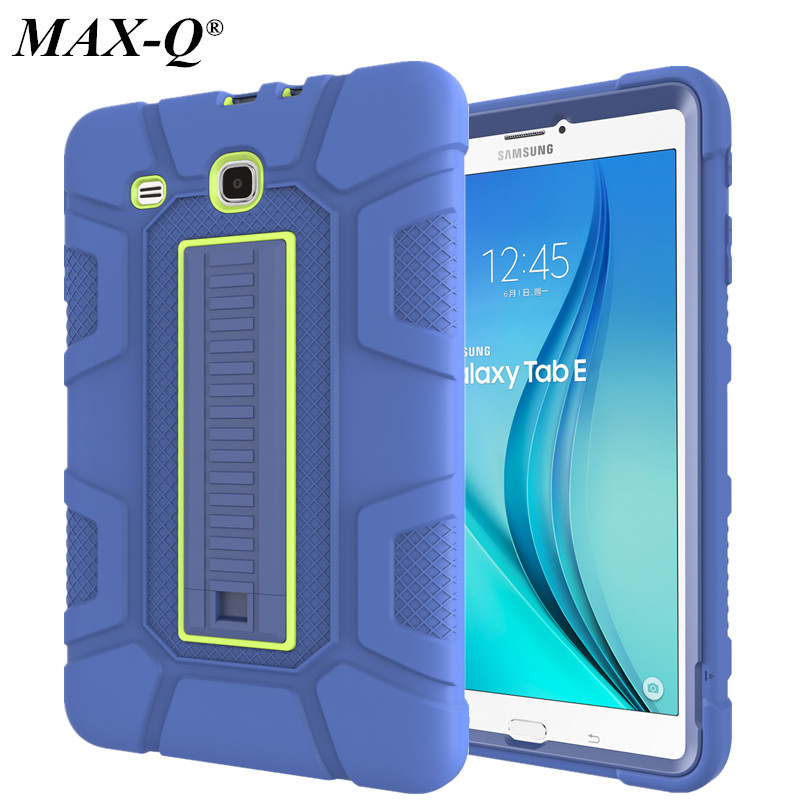 MAX-Q Shockproof Armor Hard Rubber Kickstand Protective Case for Samsung Galaxy Tab E 9.6 T560 T561 Silicone Heavy Duty Rugged tire style tough rugged dual layer hybrid hard kickstand duty armor case for samsung galaxy tab a 10 1 2016 t580 tablet cover