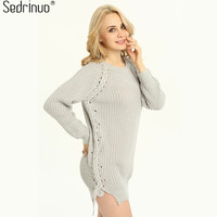 Casual Loose Long Sleeve Round Neck Knitted Sweater Dress Fashion Pullover Side Split Grey Black Mini
