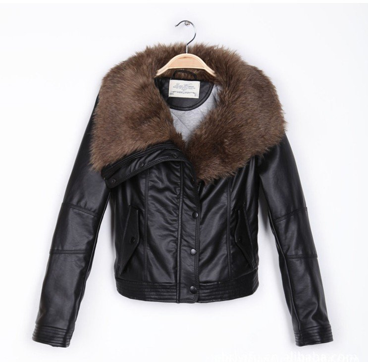 Womens Leather Jacket With Fur Collar Photo Album - Reikian