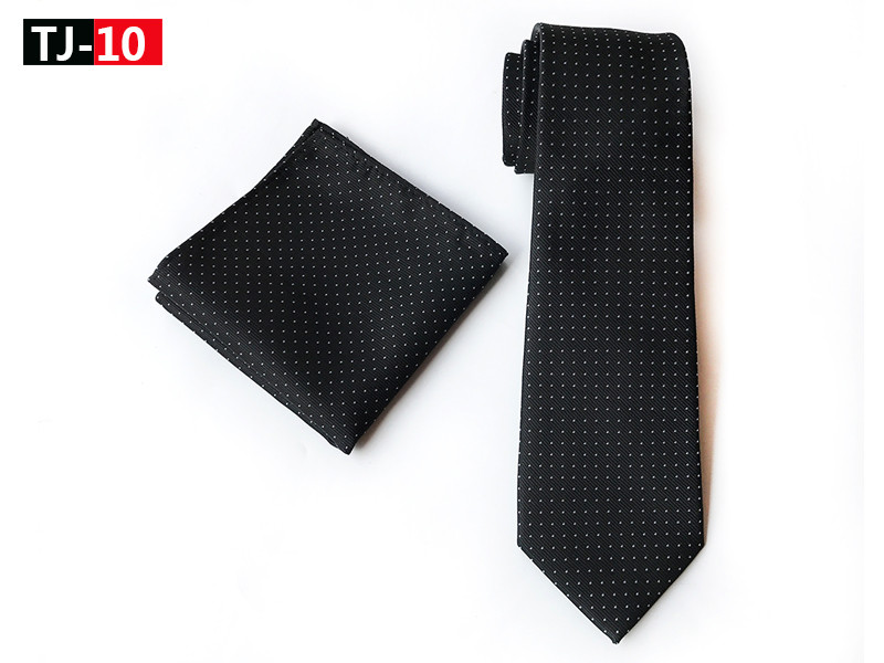 8cm Fashion Men Woven Necktie Set Black With White Classic Dots Tie Pocket Square
