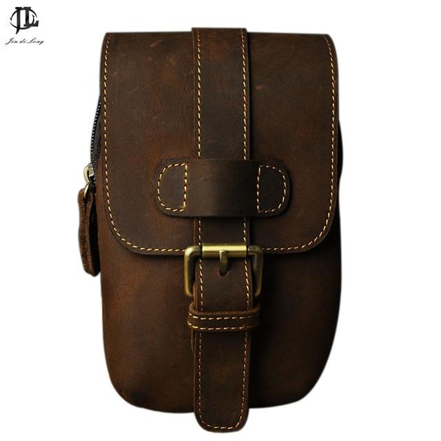Retro Vintage men's Leather waist bag leather waist pack male leather Fanny Pack shoulder bag Messenger bag pack free shipping