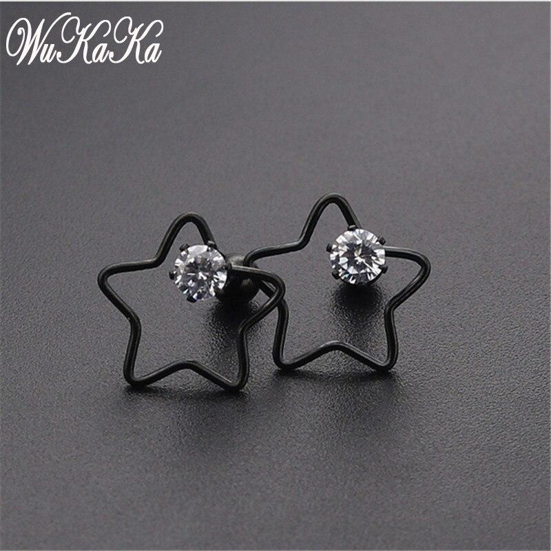 Crystal Hollow Stars Black Titanium Steel Stainless Punk Screw Stud Earrings No Fade Ear Jewelry For Men Women Girl