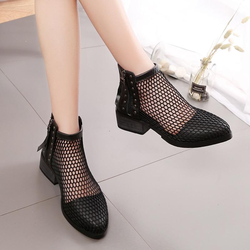 noir Femme Bottes Aa40226 Top Évider Dames Chaussons Mode Cheville Breathble Chaussures Casual Plat Beige Femmes High De Pour Maille Udwnxaq8R