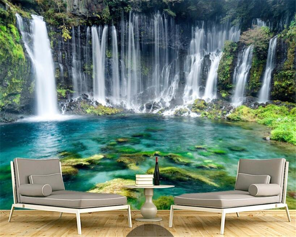 beibehang HD fashion personality wallpaper green landscape simple aesthetic waterfall background wall papel de parede wall paper