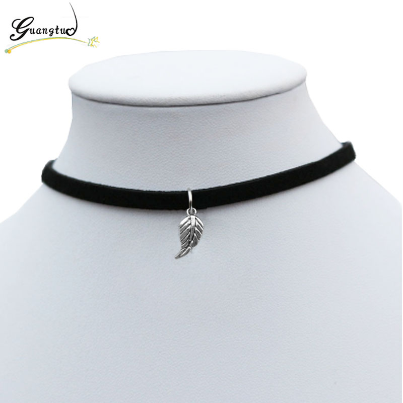 Leaf Feather Shape Pendant Necklace For Women Black Velvet Collares Fashion Jewelry Gothic Bijoux Gift Chocker