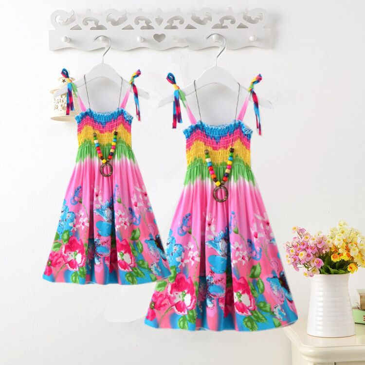 Summer-Bohemian-Style-Girls-Dress-Floral-Shoulderless-Beading-Necklace-Sundress-For-Girls-Beach-Dress-Clothes-Vestido-Infantil-4