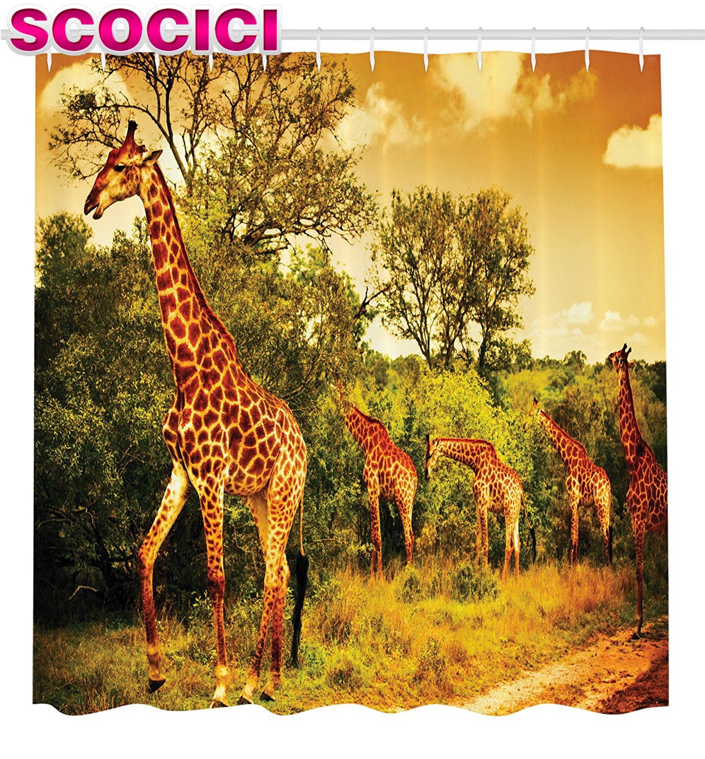 Safari bathroom decor for kids - Giraffe Shower Curtain Wildlife African Safari Decor Giraffe And Animals Art For Bathroom Decorations Kids Teens Wild Jungle Des