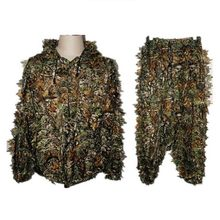 Jacht Ghillie Suits 3D Bionic Leaf Jacht Kleding Duurzaam Outdoor Woodland Camouflage Pakken Paintball Ghilliekostuum Mantel(China)