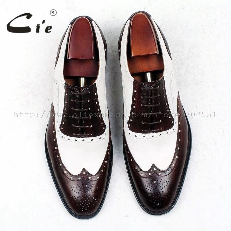 Cie/мужские туфли с круглым носком на заказ; цвет коричневый, белый; мужские туфли-оксфорды ручной работы из натуральной телячьей кожи с дышащей подошвой; ox438