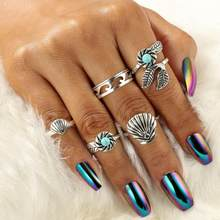 2018 Hot Bohemia Silver Shell Flower Leaf Rings Set 5psc 1set Tribal Carved Green Rhinestone Knuckle Midi Rings Wedding Gift(China)