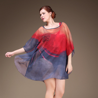 New Vintage Transparent Chiffon Beach Cover Up Dress Waist Gathers Beach Wraps Fashion Printing Women Beach