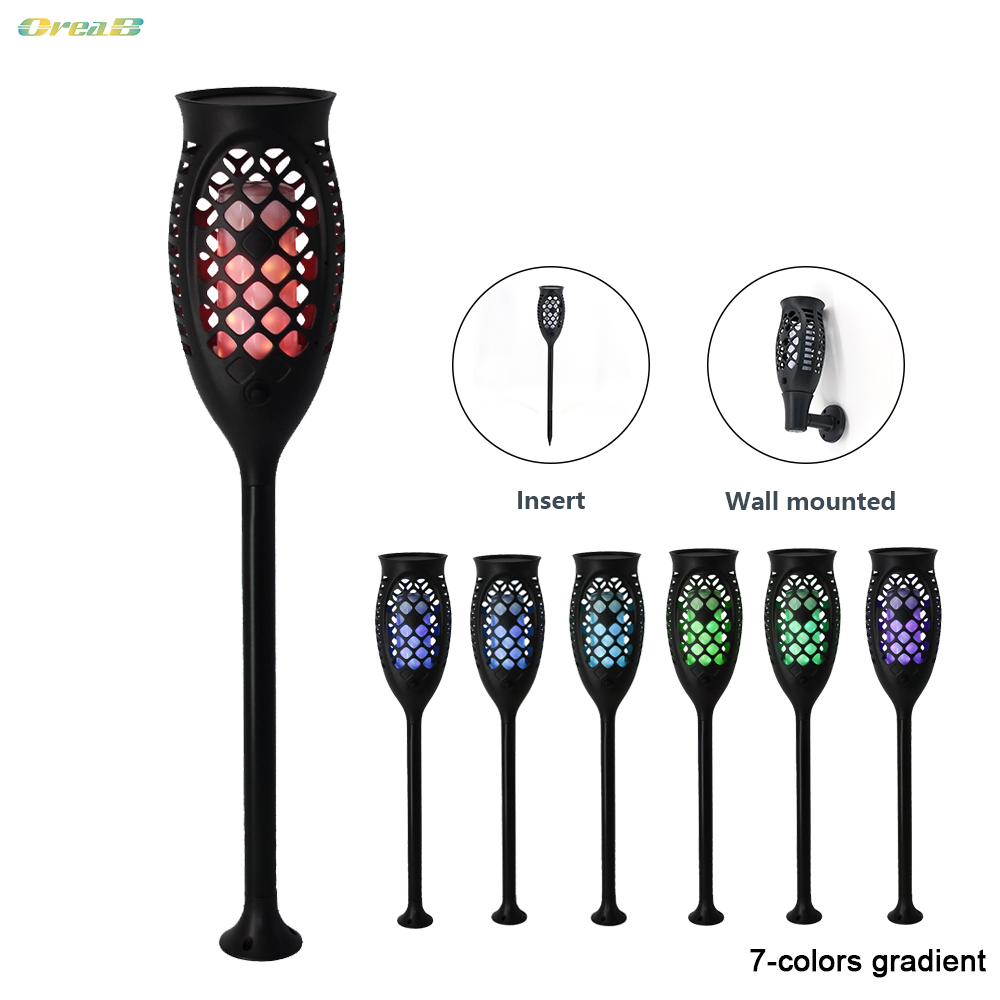 96 Led 7 Light Colors Rgb Ip65 Led Solar Flame Light Outdoor Flickering Flame Lamp Solar Torch Outdoor Pathway Lighting