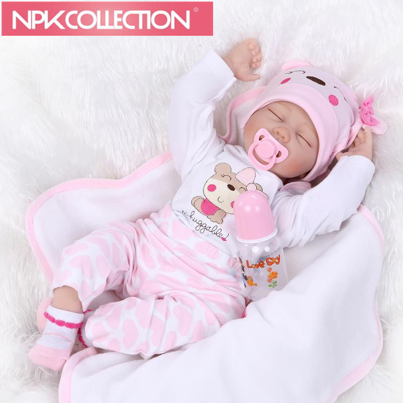 New Arrival NPKCOLLECTION Realistic Reborn Baby Doll Hair Rooted Soft Silicone 22inch Lifelike Newborn Doll Girl XMAS Gift N148 ucanaan 20 50cm reborn doll hair rooted realistic baby born dolls soft silicone lifelike newborn toys for girls xmas kids gift