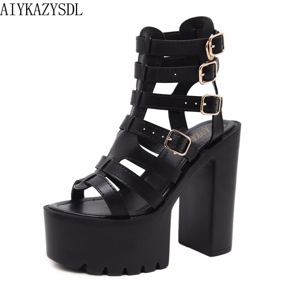 AIYKAZYSDL Gladiator Roman Sandals Platform Strappy Buckle Ankle Strap Slingback Platform Thick Chunky Block Ultra High Heels aiykazysdl women roman gladiator sandals