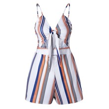 plus size summer rompers 2018 beach playsuit striped overalls for women tunic one piece shorts deep