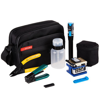 New 1set 9 In 1 Fiber Optic FTTH Tool Kit With FC-6S Fiber Cleaver And Power Meter