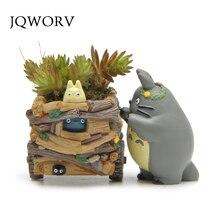 JQWORV Modern Cartoon Succulent Planter Pot Resin Creative Crafts Cute Totoro Flower Pot  Home Decorations Vase macetas pots