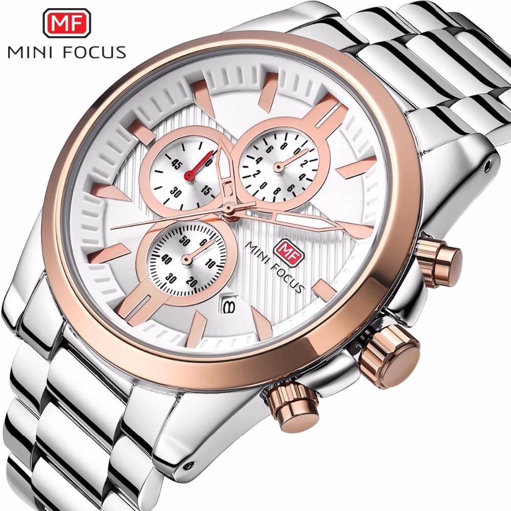 MINIFOCUS Brand Watch Men Fashion Calendar Men's Watches Casual Stainless Steel Waterproof Quartz Wristwatch