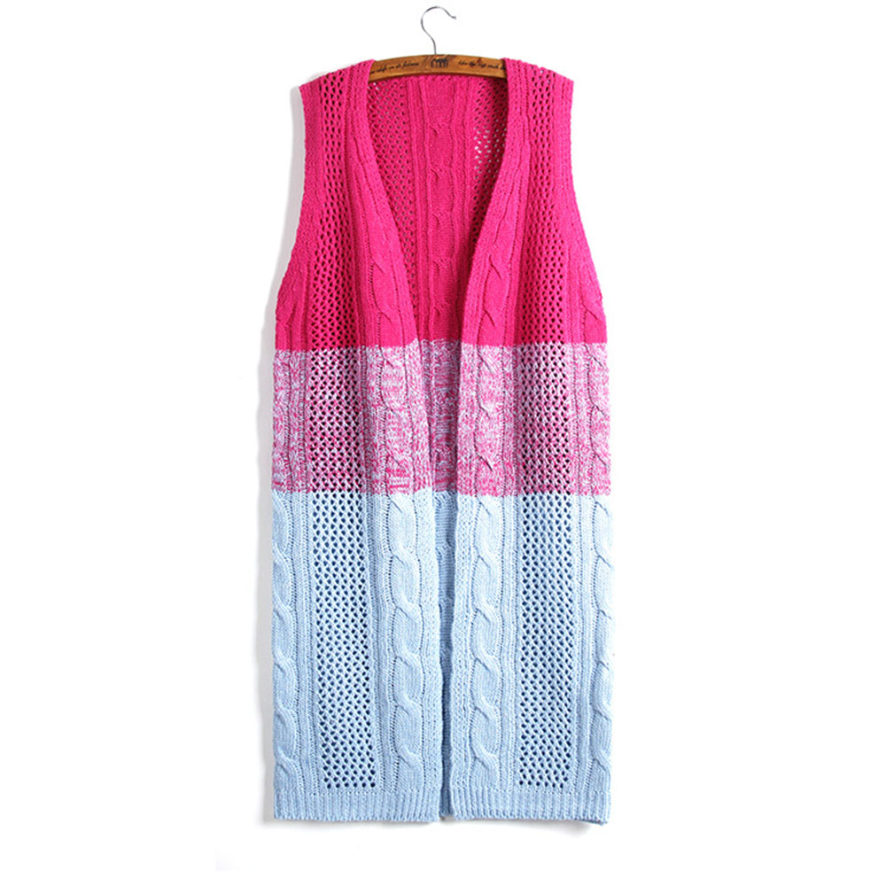Colorful Long Knitted Casual cardigan Sleeveless sweater women ...
