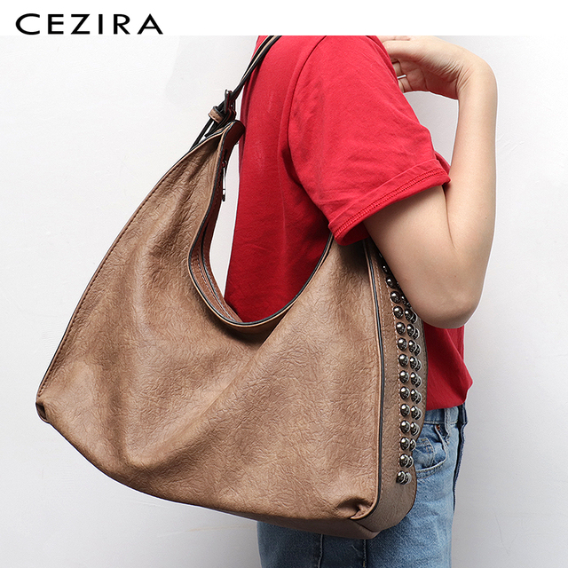 CEZIRA Brand Fashion Shoulder Bags for Women 2018 Designer Casual Big Tote Handbag Female Zipper Studs Pu Leather Ladies Purse 1