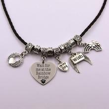 wait for me at the rainbow bridge leather chain dog angel the rainbow bridge pet loss pet owner dog lover necklace the rainbow feather