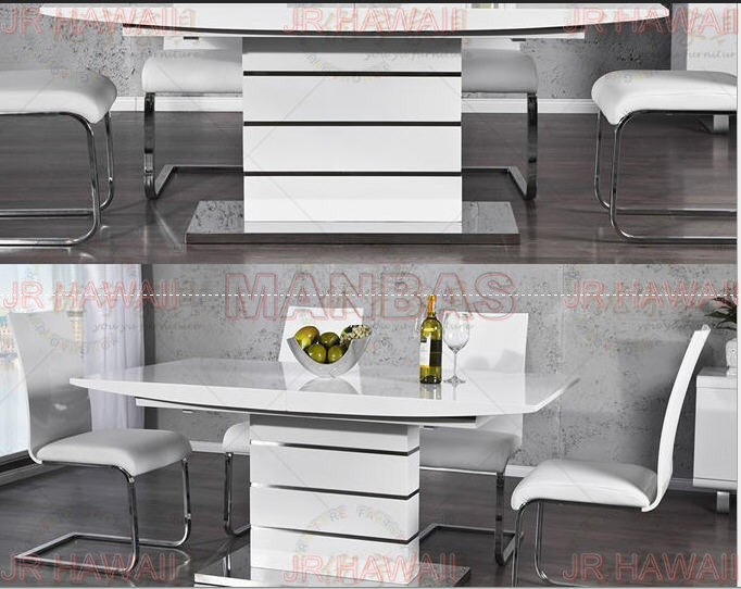 US $558.6 5% OFF|minimalist modern folding table stainless steel white  dining room set panel dining table mesa plegable de jantar muebles  comedor-in ...