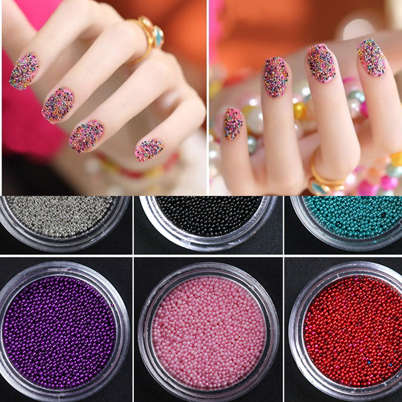12 Color Caviar Nail Art Decoration 3D Bling Glitter Polish Pearl ...