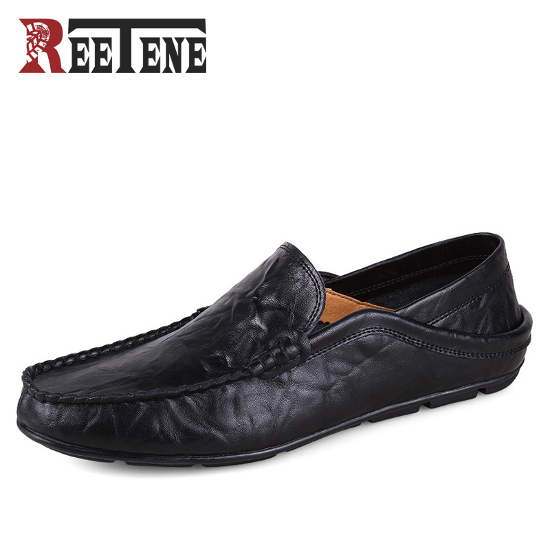 REETENE Casual Driving Shoes Men Genuine Leather Loafers Men Shoes Winter Men Loafers Luxury Brand Flats Shoes Men Chaussure