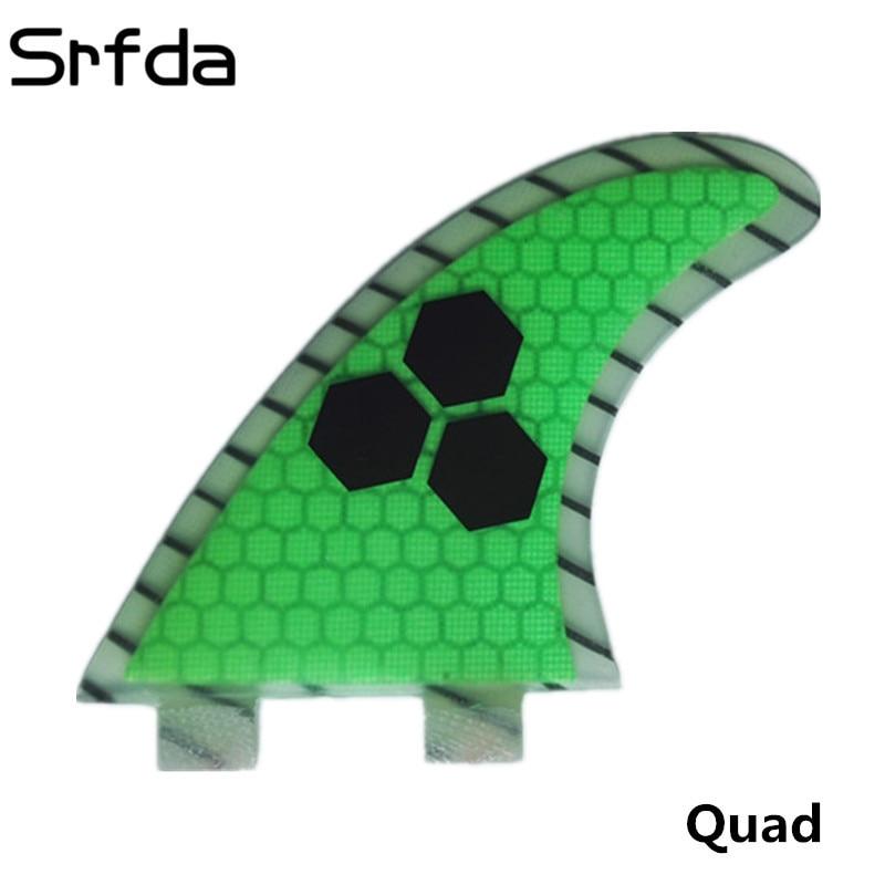 Srfda Livraison gratuite planche de surf Haute qualité FCS ailettes avec fiber de verre de miel peigne matériel pour surf aileron Quad M-taille 4 pcs/ensemble