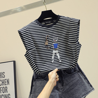 2019 New Spring Summer Fashion Sleeveless Tshirts for Women O Neck All match Loose Striped Top Embroidery Students T shirts