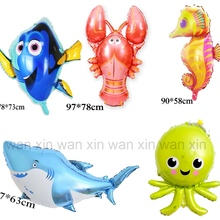 large size fish helium balloons irregular shark foil children toys for birthday gift party