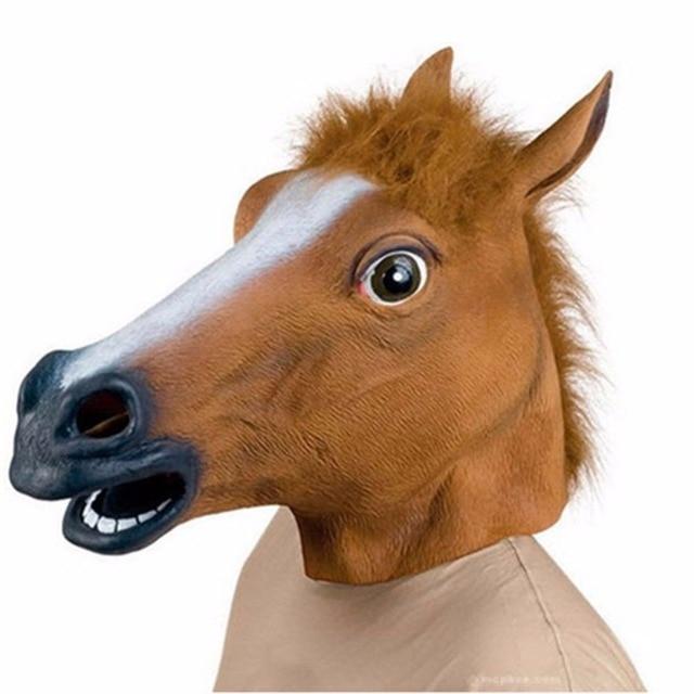 New Halloween Creepy Unicorn Horse  Animal's Head Latex Mask Festival Costume Theater Prank Prop Crazy Party Mask