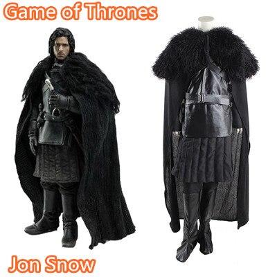 [Customize]Anime! Game of Thrones Jon Snow Black Uniform Cosplay Costume Full Set S-3XL 2018 NEW Free Shipping