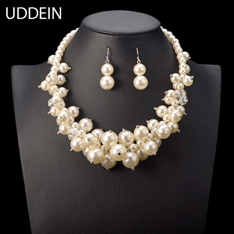 UDDEIN Nigerian Wedding Indian Jewelry Sets Multi layer Simulated Pearl Necklace Bridal Accessories Vintage Maxi Necklace Women