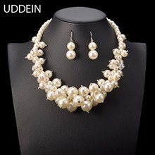 UDDEIN Nigerian Wedding Indian Jewelry Sets Multi layer Simulated Pearl Necklace Bridal Accessories Vintage Maxi Necklace Women(China)
