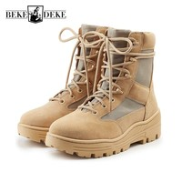 Military Mens Antiskid Platform High Top Ankle Boots Lace Up Genuine Leather Army Tactical Desert Botas Male Casual Martin Shoes