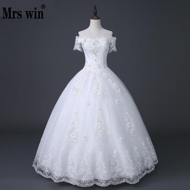 New 2018 Hot Selling Korean Style Boat Neck Wedding Dress White ...