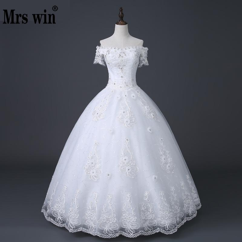 New 2018 Hot Selling Korean Style Boat Neck Wedding Dress White Princess Wedding Gown Fashion Sexy Vestidos De Novia
