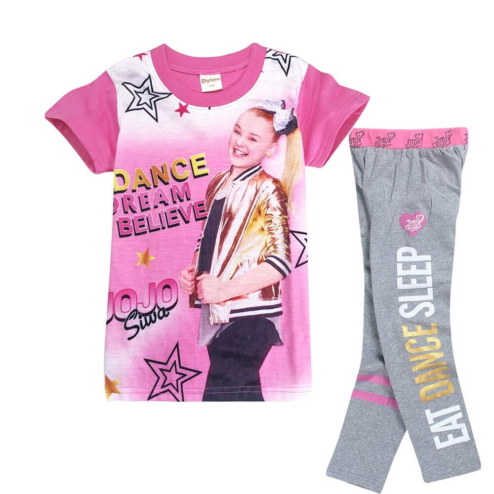 2018 New Summer Short Sleeve Shirts + Pant Sleepwear Set Jojo Siwa Pajamas for Girls Toddler Fashion Design Baby Girl Sport Suit
