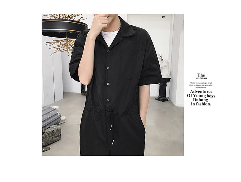 60b62fdd5778 2019 Jumpsuit Overalls Men Black Conjoined Pants Mens Romper Suit ...