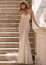 2019 Berta gelinlik ile yüksek kaliteli dantel spagetti sapanlar backless vestido de novia vestito da sposa gelin elbise HA021