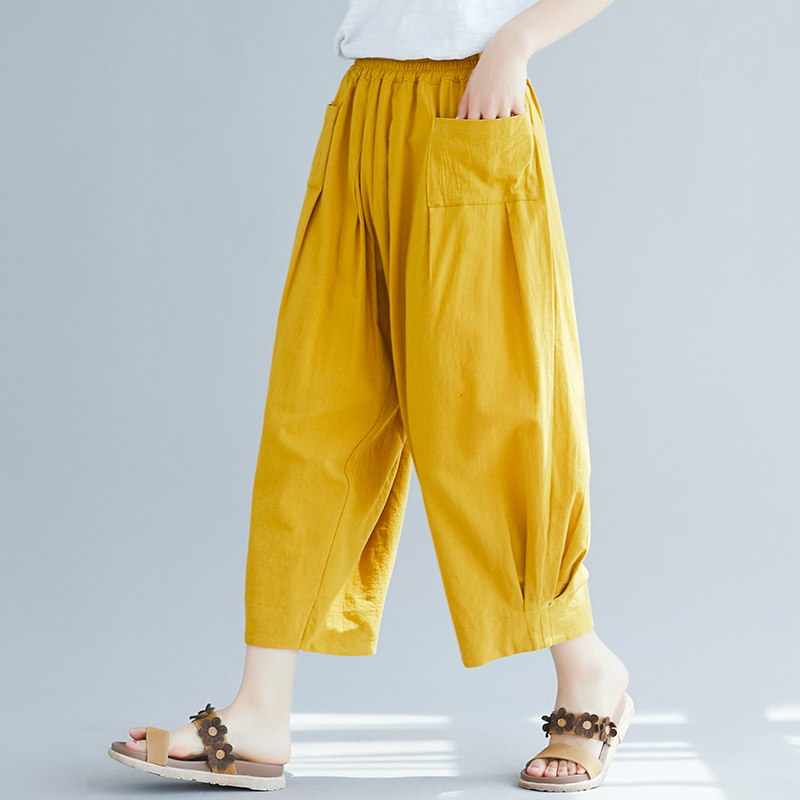2019 Summer women fashion casual   wide     leg     pants  ,Street wear plus size cotton linen   pants  , large size HIP HOP trousers 6XL 7XL